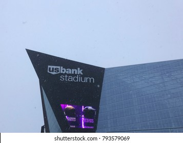 Minneapolis, MN/USA- January 14, 2018- US Bank Stadium the day of the Vikings-Saints playoff game on a freezing snowy day in Minnesota.
