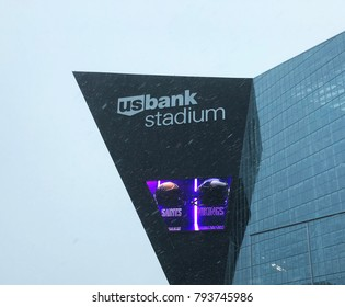Minneapolis, MN/USA- January 14, 2018- US Bank Stadium the day of the Viking Saints NFC Playoff game.