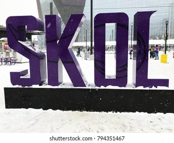 Minneapolis, MN/USA- January 14, 2018- The Minnesota Vikings giant SKOL sign in front of the stadium on a snowy playoff game day.