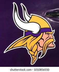 Minneapolis, MN/USA- January 26, 2018 Minnesota Vikings decal on a vehicle on display for Super Bowl LII.