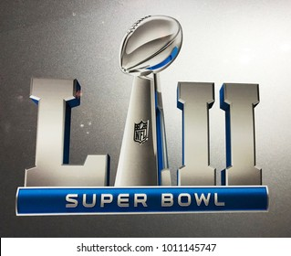 Minneapolis, MN/USA- JANUARY 26, 2018. Super Bowl LII decal on a vehicle in downtown Minneapolis.
