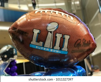 Minneapolis, MN/USA- JANUARY 27, 2018. Super Bowl LII football balloon on display in Minneapolis for the Super Bowl week.
