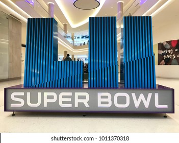 Minneapolis, MN/USA - January 28, 2018. Super Bowl LII giant display at the Mall for the upcoming Super Bowl in Minneapolis.