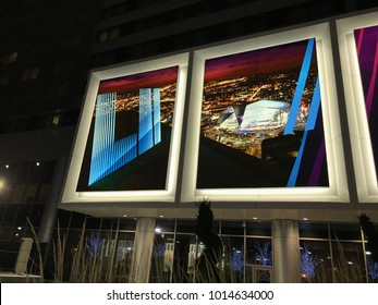 Minneapolis, MN/USA- January 31, 2018. Mall of America Exterior closeup at night that depicts US Bank Stadium for Super Bowl LII.