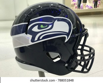 Minneapolis, MN/USA January 6, 2017 Seattle Seahawks Jumbo helmet on display for the Super Bowl LII.