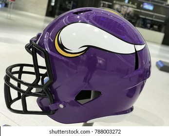 Minneapolis, MN/USA January 6, 2018: Minnesota Viking Jumbo Helmet set up in Mall of America for Super Bowl LII.