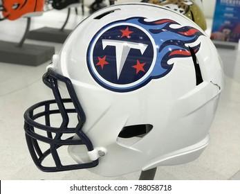 Minneapolis, MN/USA- January 6, 2018- Tenessee Titans Jumbo helmet on display for Super Bowl LII