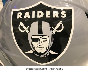 Minneapolis, MN/USA - January 6, 2018- Closeup of the Raiders logo from a Jumbo helmet setup for Super Bowl LII.