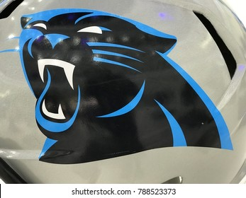 Minneapolis, MN/USA- January 6, 2018: Closeup of the Carolina Panther on a helmet set up for the Super Bowl.