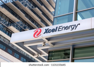 MINNEAPOLIS, MN/USA - JULY 7, 2018: Xcel Energy corporate headquarters exterior and trademark logo.Xcel Energy Inc. is a utility holding company.