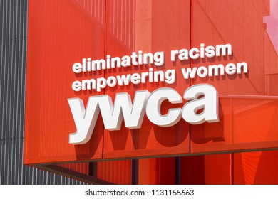 MINNEAPOLIS, MN/USA - JUNE 30, 2018: YWCA exterior sign and logo. The World Young Women's Christian Association is a movement working for the rights of women.