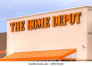 MINNEAPOLIS, MN/USA - MARCH 19, 2017:  The Home Depot exterior. Home Depot is an American retailer of home improvement and construction products, supplies and services.