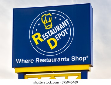 MINNEAPOLIS, MN/USA - MARCH 4, 2017: Restaurant Depot exterior sign and logo. Restaurant Depot is a retail store specializing in restaurant supplies.