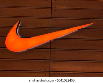 Minneapolis, MN/USA- March 7, 2018- Exterior shot of a Nike Store at a Mall in Minnesota. Nike is a multinational corporation that sells footwear, sports equipment and apparel all over the world.