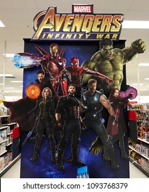 Minneapolis, MN/USA- May 13, 2018. A cardboard display in a retail store featuring the movie characters from the new movie- Avengers- Infinity War.