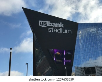 Minneapolis, MN/USA- October 15, 2017. The exterior of US Bank Stadium on the day the Green Bay Packers played the Minnesota Vikings.