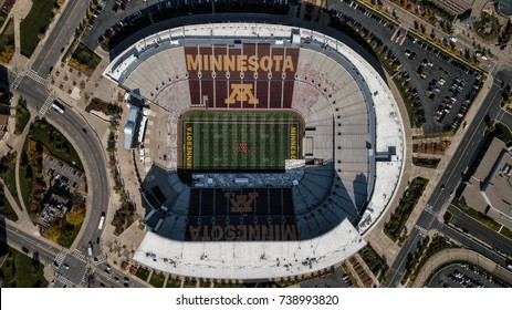 MINNEAPOLIS, MN/USA - October 20, 2017: TCF Bank Stadium on the campus of the University of Minnesota. TCF Bank is an outdoor stadium and home to the Minnesota Golden Gophers football team.