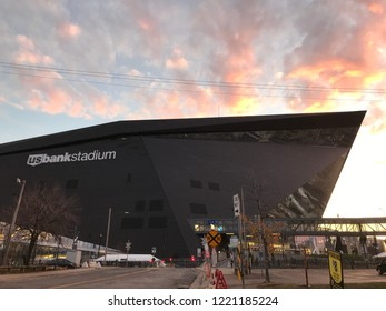 Minneapolis, MN/USA- October 28th, 2018. US Bank Stadium at Sunset. The home of the Minnesota Vikings and various events in downtown Minneapolis.