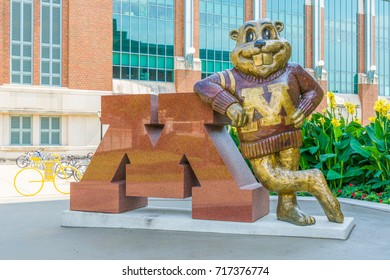 MINNEAPOLIS, MN/USA - SEPTEMBER 10, 2017: Goldy Gopher mascot on the campus of the University of Minnesota.