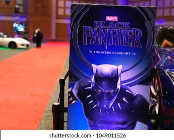 Minneapolis, MN/USA-March 14, 2018. Black Panther display by a red carpet at an auto show in Minnesota.