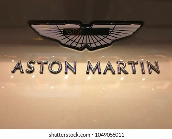 Minneapolis, MN/USA-March 14, 2018. Close up of the back of a new Aston Martin vehicle. Aston Martin is the official car of fictional spy character James Bond.