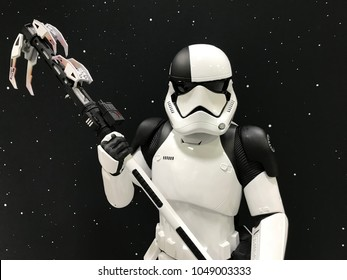 Minneapolis, MN/USA-March 14, 2018. Star Wars Storm Trooper figure from The Last Jedi on display at an auto show in Minnesota.
