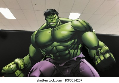 Minneapolis, MN/USA-May 19th, 2018. Cardboard display of the Hulk at a retail store in Minnesota.