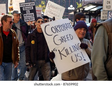 MINNEAPOLIS - OCTOBER 29:  Unidentified participants in the Occupy Minnesota protest on October 29, 2011 in Minneapolis.  Occupy protests are a worldwide movement against corporate greed.