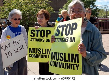 MINNEAPOLIS - SEPTEMBER 11:   Demonstrators marking the anniversary of 9-11 rally against anti-Muslim bigotry on September 11, 2010 in Minneapolis.