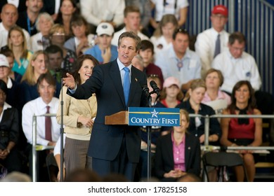 Minneapolis - September 19, 2008 - MN State Senator Norm Coleman speaks at a campaign rally for John McCain and Sarah Palin at the Anoka County Airport