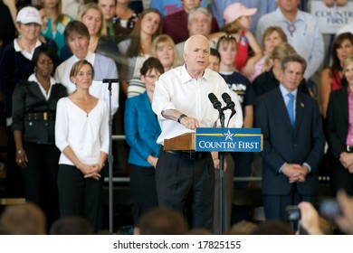 Minneapolis - September 19, 2008 - Presidential Candidate John McCain speaks at a campaign rally at the Anoka County Airport
