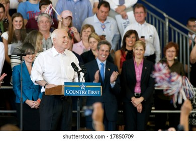 Minneapolis - September 19, 2008 - Senator John McCain speaks at a campaign rally with Sarah Palin
