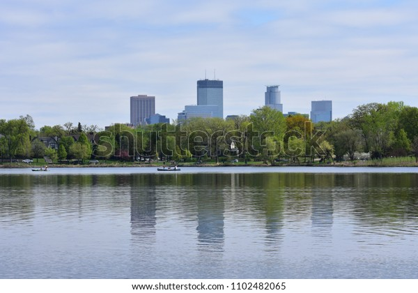 Minneapolis Skyline over Lake of the Isles