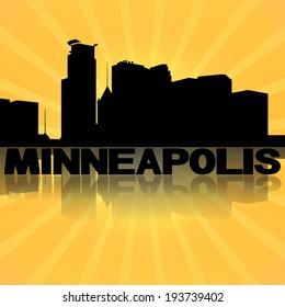 Minneapolis skyline reflected with sunburst illustration