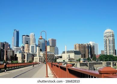 Minneapolis skyline from the stone arch bridge