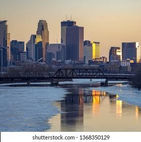 Minneapolis Skyline at Sunset on Evening of the Super Blood Wolf Moon