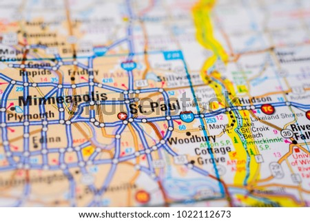 Minneapolis USA Map Stock Photo (Edit Now) 1022112673 - Shutterstock