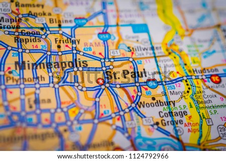 Minneapolis USA Map Stock Photo (Edit Now) 1124792966 - Shutterstock