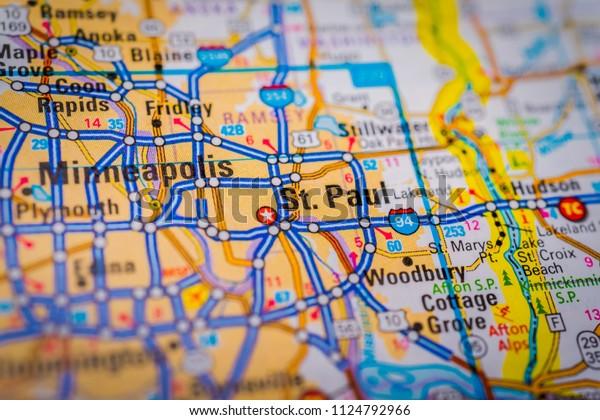 Minneapolis Usa Map Stock Photo (Edit Now) 1124792966