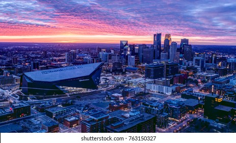Minneapolis, USA - November 26, 2017 - US Bank Stadium and Downtown Minneapolis at Sunset.