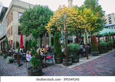 MINNEAPOLIS, USA - OCTOBER 12: Downtown Minneapolis, Minnesota, Restaurant on the autumn street.