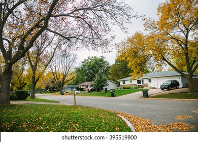 MINNEAPOLIS, USA - OCTOBER 12: Eagan, suburb Minneapolis, Minnesota, on the autumn street.