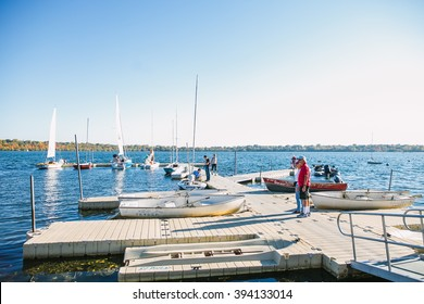 MINNEAPOLIS, USA - OCTOBER 12: Yachts at Minneapolis lake on weekend on October 12, 2015 in Minneapolis, USA.