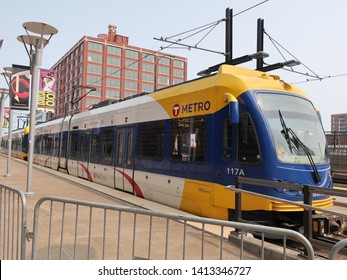 MINNEAPOLIS-JUNE 1:  Light rail train in downtown Minneapolis, on June 1, 2019.  Light rail provides an inexpensive way to travel around in Minneapolis and St. Paul, Minnesota.