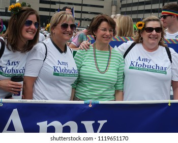 MINNEAPOLIS-JUNE 24, 2018: United States Senator Amy Klobuchar and supporters preparing to march in the Twin Cities Pride Parade,on June 24, 2018.