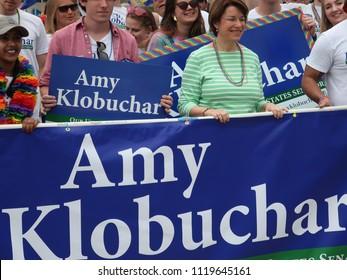 MINNEAPOLIS-JUNE 24: Senator Amy Klobuchar of Minnesota marching in the Twin Cities Pride Parade, on June 24,2018.
