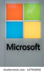 MINNEAPOLIS,MN - JULY 28: Large Microsoft Corporation logo in Mall of America, in Minneapolis, MN, on July 28, 2013. The company was founded by Bill Gates and Paul Allen on April 4, 1975.