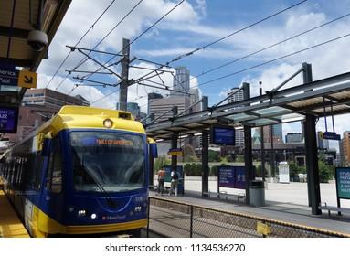 MINNEAPOLIS,MN/USA - 7-09-2018: View of a light-rail station in downtown Minneapolis
