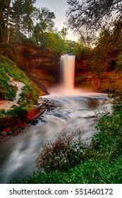 Minnehaha Falls at Dusk (Glows Pinkish)