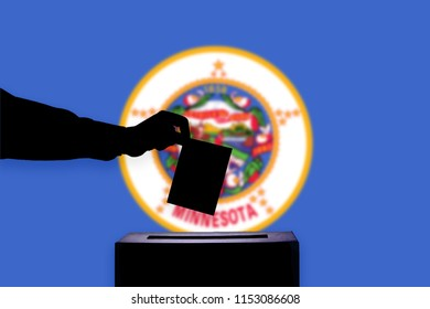 Minnesota flag with ballot box during elections / referendum